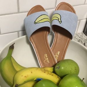 *Love Rio Banana Fruit Mule Slide Platform Sandals